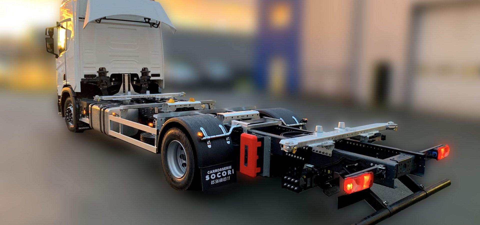 Porte-conteneurs chassis sur chassis pour camion porteur